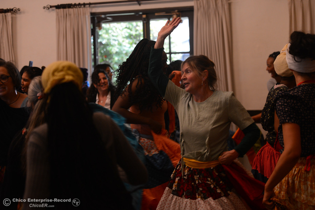 . Jeanne Christopherson, board member for the Women\'s Club, dances during a  Women\'s Day event, Saturday, March 10, 2018, in Chico, California. (Carin Dorghalli -- Enterprise-Record)