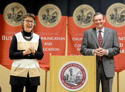 CSUC President Gayle E. Hutchinson and Chancellor Timothy P. White speak during a press conference prior to the Innauguration of President Hutchinson on the CSUC campus Friday, March 3, 2017. (Bill Husa -- Enterprise-Record)