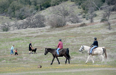 A group of hikers along with a couple of riders on horseback enjoy open trails in Upper Bidwell Park Friday March 3, 2017.  (Bill Husa -- Enterprise-Record)