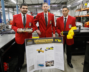 SkillsUSA first place regional competition winners Andres Marquez, Jesse Patton and Majd Barchini pose with their first place project, an underwater drone Thursday March 2, 2017 at the Butte College Automotive Technology Center  in Chico, California. (Emily Bertolino -- Enterprise-Record)