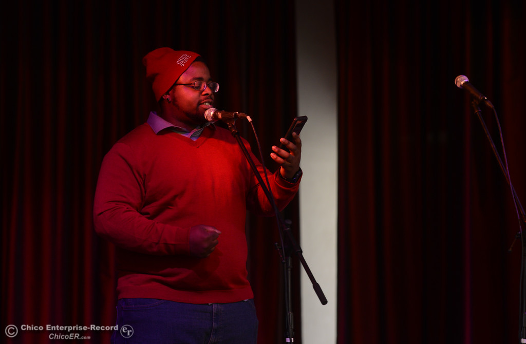 """. Tyrell \""""Rex\"""" Bell performs a spoken word piece during the \""""Justice for Desmond\"""" event, March 17, 2018, in Chico, California. (Carin Dorghalli -- Enterprise-Record)"""