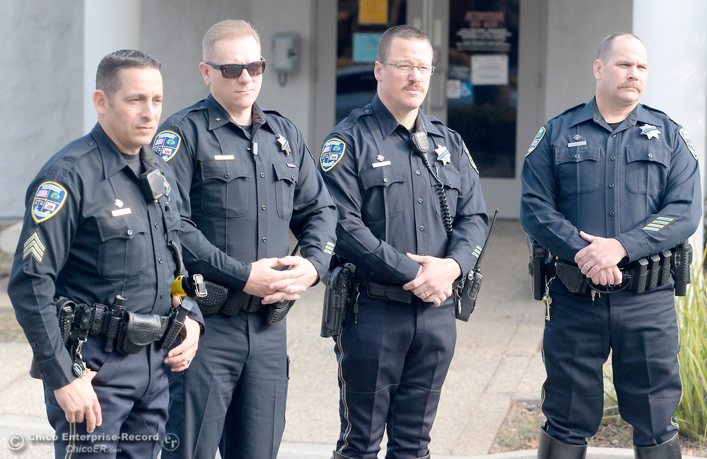 . Chico Police Officers Sgt. Todd Leftkowitz, Lt. Billy Aldridge, Travis Johnson and Ryon Mitchell stand left to right as Chief of Police Mike O\'Brien introduces the new traffic unit during a press conference held in the parking lot at the Chico Police station Monday March 12, 2018. (Bill Husa -- Enterprise-Record)