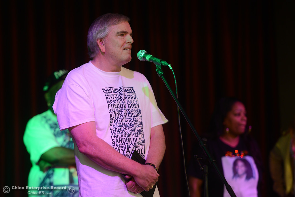 """. Scott Rushing, father of Tyler Rushing, speaks during the \""""Justice for Desmond\"""" event, March 17, 2018, in Chico, California. (Carin Dorghalli -- Enterprise-Record)"""