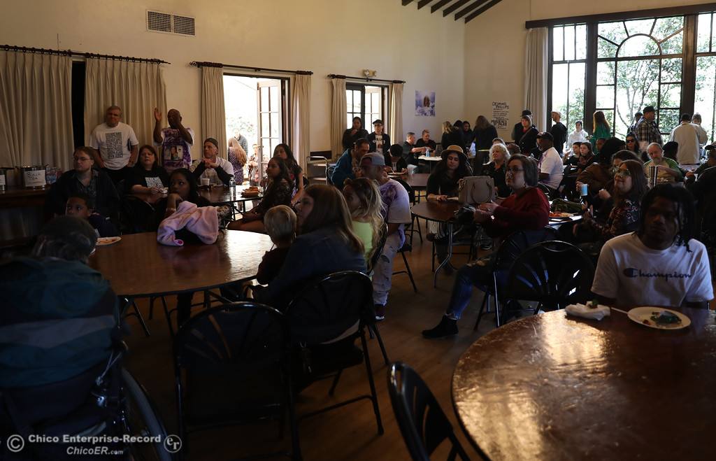 """. The crowd intently listens to the speakers during the \""""Justice for Desmond\"""" event, March 17, 2018, in Chico, California. (Carin Dorghalli -- Enterprise-Record)"""