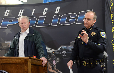 In a press conference early Saturday, March 18, 2017, Chico Police Chief Mike O'Brien, right, and Butte County District Attorney Mike Ramsey, left, outline the events Friday, March 17, 2017, that left a 25-year-old man dead when two Chico police officers opened fire. (Dan Reidel -- Enterprise-Record)