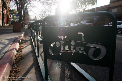 A bike rack on Third Street between Broadway and Salem Street is seen Tuesday, Feb. 27, 2018, in Chico, California. (Dan Reidel -- Enterprise-Record)