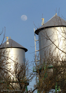 The moon rises behind the water towers at East Third and Orient streets Tuesday, Feb. 27, 2018, in Chico, California. (Dan Reidel -- Enterprise-Record)