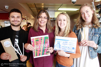 Left to right, Landon Akhtar, Linda Storey, Emily Hilbers and Sophia Graves pose for a photo Wednesday, Feb. 28, 2018, at Storey's restaurant Hula's Chinese Bar-B-Q on the 2500 block of the Esplanade in Chico, California. Storey was inspired to switch from plastic straws to paper after seeing a video showing a sea turtle with a plastic straw stuck in its nose and has been working Chico State interns Akhtar, Hilbers and Graves to encourage other local businesses to make the switch from plastic to paper as well. (Dan Reidel -- Enterprise-Record)