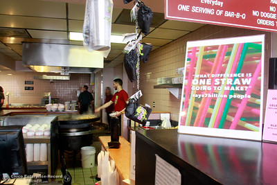 Hula's Chinese Bar-B-Q owner Linda Storey decided to switch from plastic to paper drinking straws at both her restaurants in Chico. At the Mongolian-style restaurant on the 2500 block of the Esplanade, signs about paper straws are on display throughout the lobby Wednesday, Feb. 28, 2018, in Chico, California. (Dan Reidel -- Enterprise-Record)