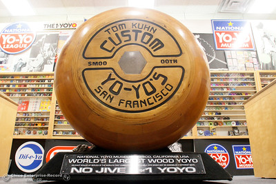 The world's largest working yo-yo is on display Tuesday, Feb. 27, 2018, at the National Yo-Yo Museum inside Bird in Hand in Chico, California. (Dan Reidel -- Enterprise-Record)