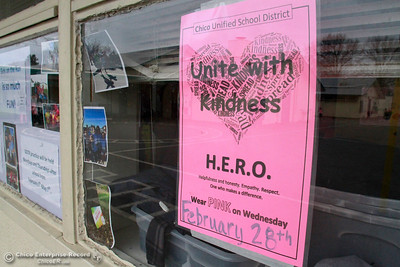 """A flyer at McManus School encourages children to wear pink and """"Unite with Kindness"""" Wednesday, Feb. 28, 2018, in Chico, California. (Dan Reidel -- Enterprise-Record)"""