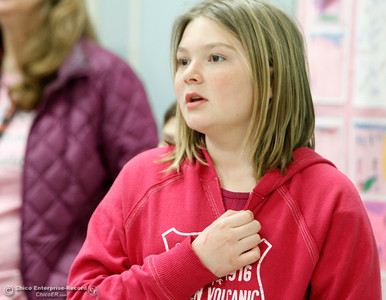 "Fourth-grader Maggie Farley, 10, takes a ""kindness pledge"" Wednesday, Feb. 28, 2018, at McManus School in Chico, California. (Dan Reidel -- Enterprise-Record)"