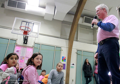 Retired school psychologist and current school counselor Mike Carroll, right, talks to students at McManus School about kindness Wednesday, Feb. 28, 2018, in Chico, California. (Dan Reidel -- Enterprise-Record)