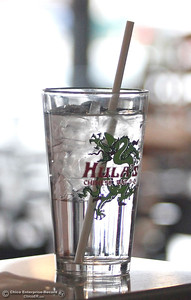 A paper straw in a glass of water Wednesday, Feb. 28, 2018, at Hula's Chinese Bar-B-Q on the 2500 block of the Esplanade in Chico, California. Restaurant owner Linda Storey recently switched to paper straws at both Hula's eateries in Chico. (Dan Reidel -- Enterprise-Record)