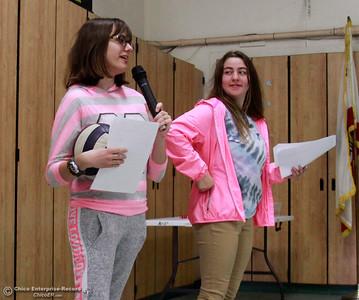 Pleasant Valley seniors Sarah Katris-Tyler, left, and Savannah Banuelos, talk about kindness Wednesday, Feb. 28, 2018, for students atr McManus School in Chico, California. (Dan Reidel -- Enterprise-Record)