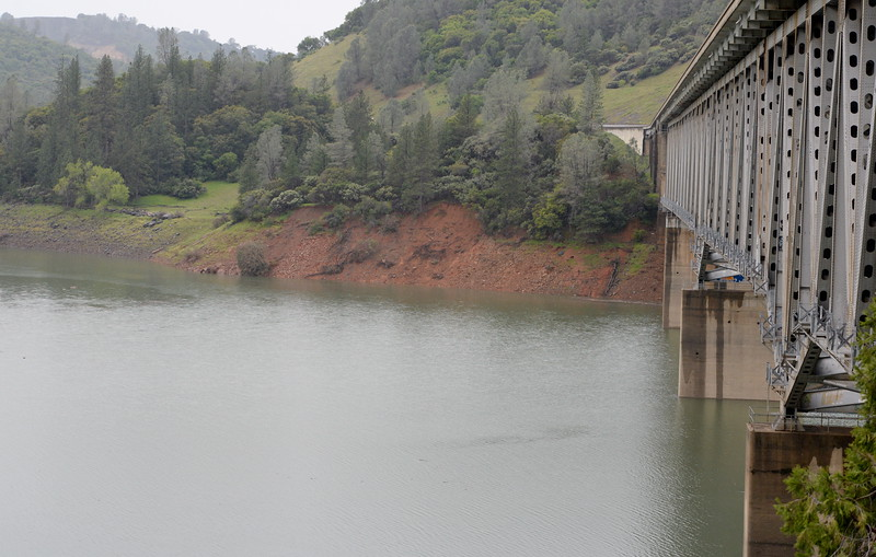 Debris floats in Lake Oroville near the Hwy. 70 bridge over the West Branch of the lake Tuesday April 11, 2017. (Bill Husa -- Enterprise-Record)