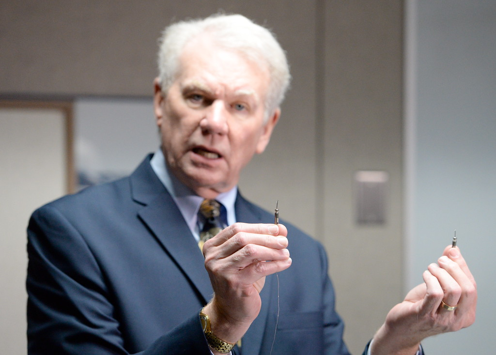 . Butte County District Attorney Mike Ramsey talks to media about the Desmond Pillips case during a press conference in Chico, Calif. Thurs. April 13, 2017. (Bill Husa -- Enterprise-Record)