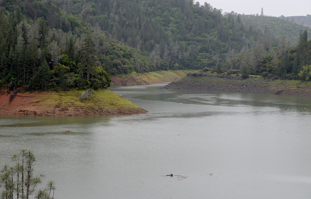 . Debris floats in Lake Oroville near the Hwy. 70 bridge over the West Branch of the lake Tuesday April 11, 2017. (Bill Husa -- Enterprise-Record)