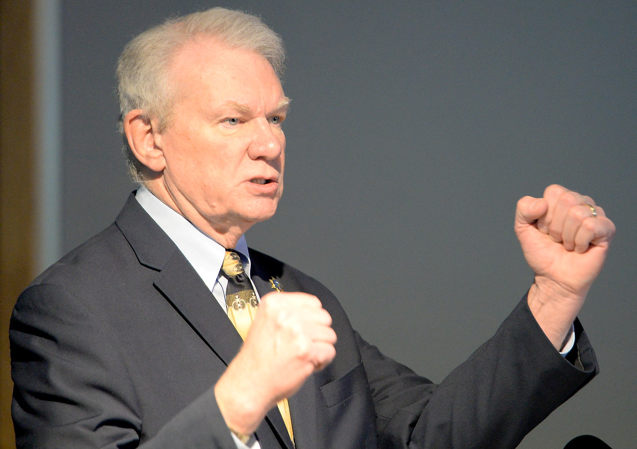 Butte County District Attorney Mike Ramsey gestures as he talks to media about the Desmond Pillips case during a press conference in Chico, Calif. Thurs. April 13, 2017. (Bill Husa -- Enterprise-Record)