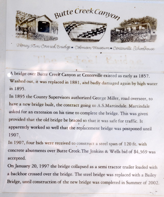 . The story of the bridge is posted on an information board near the Centerville Bridge over Butte Creek in Butte Creek Canyon Monday April 10, 2017.  (Bill Husa -- Enterprise-Record)
