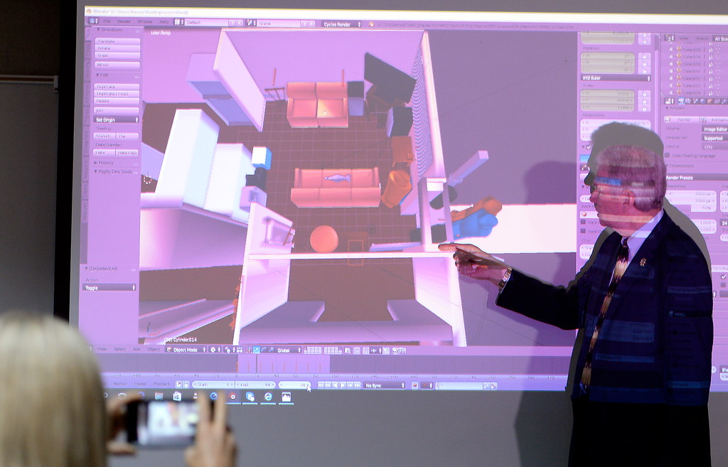 . Butte County District Attorney Mike Ramsey uses a digital model of the scene on a screen as he talks to media about the Desmond Pillips case during a press conference in Chico, Calif. Thurs. April 13, 2017. (Bill Husa -- Enterprise-Record)