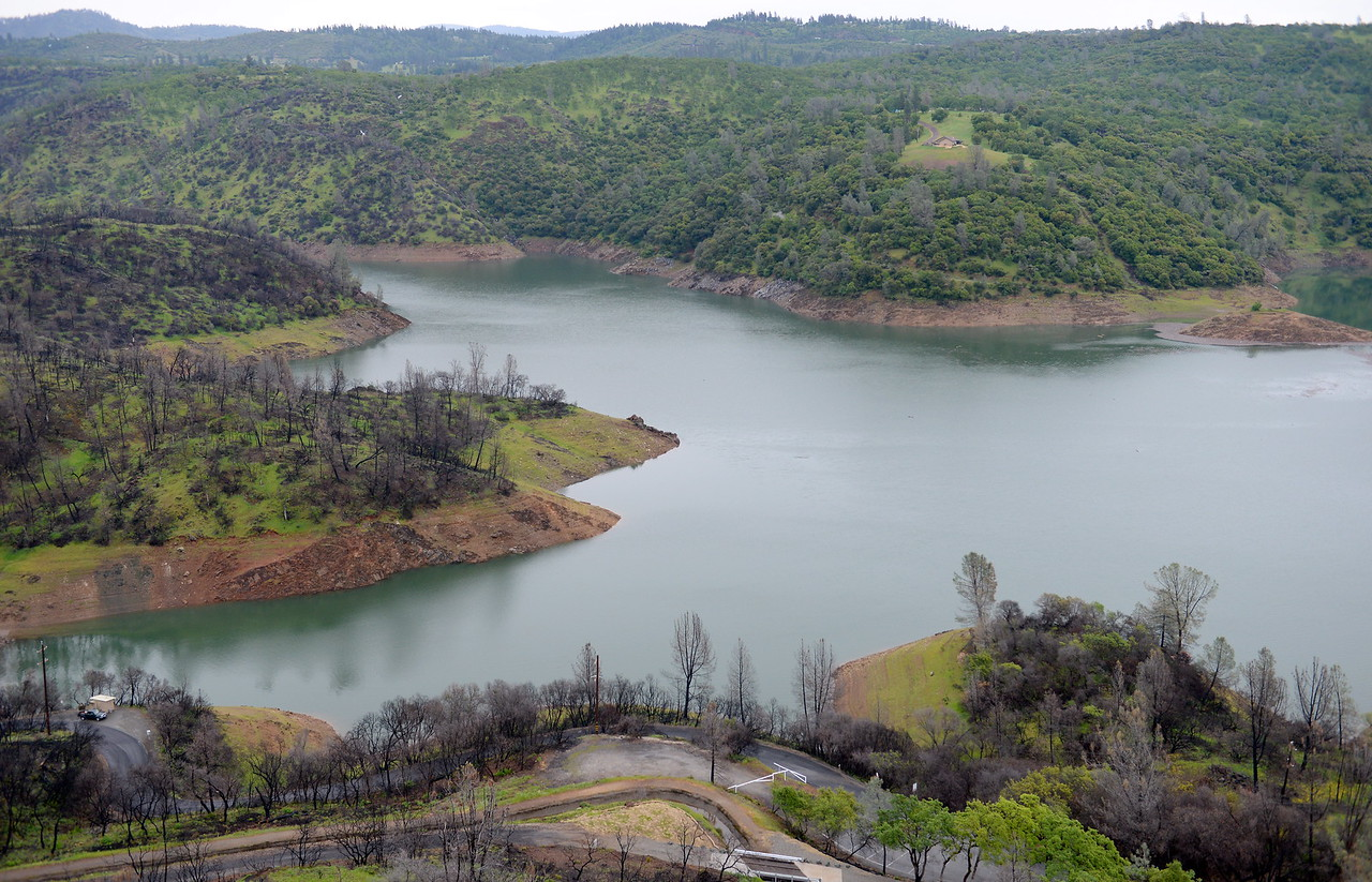 Lake Oroville is seen above the Nelson Bar Day use area from Silvera Ct. below Paradise, Calif. Tuesday April 11, 2017. (Bill Husa -- Enterprise-Record)