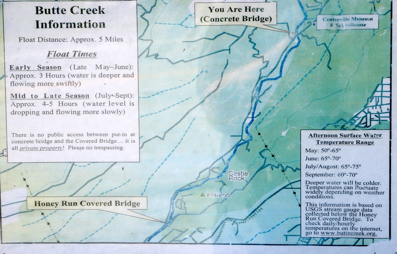 Butte Creek float times and warnings are posted on an information board near the Centerville Bridge over Butte Creek in Butte Creek Canyon Monday April 10, 2017.  (Bill Husa -- Enterprise-Record)