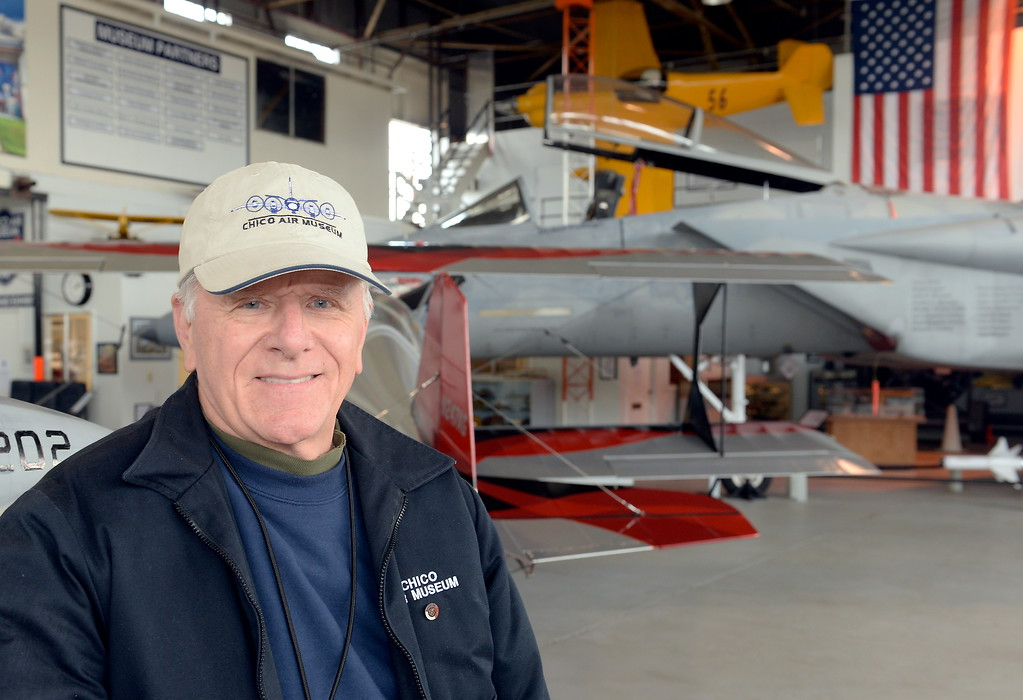 . Volunteer Bob Tate talks about his admiration for the late Jimmy Doolittle at the Chico Air Mueum in Chico, Calif. Thurs. April 13, 2017. (Bill Husa -- Enterprise-Record)