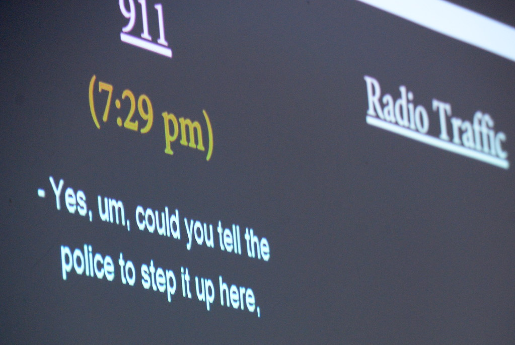 . Butte County District Attorney Mike Ramsey displays words on a screen from the 911 calls as he talks to media about the Desmond Pillips case during a press conference in Chico, Calif. Thurs. April 13, 2017. (Bill Husa -- Enterprise-Record)