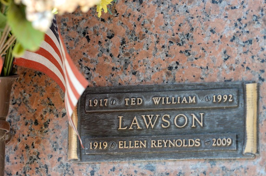 . The Ted Lawson buriel niche is seen at the community mausoleum in the Chico, Calif. cemetery Monday April 10, 2017. Lawson was among the pilots who flew on the Doolittle Raid on Tokyo in 1942. (Bill Husa -- Enterprise-Record)