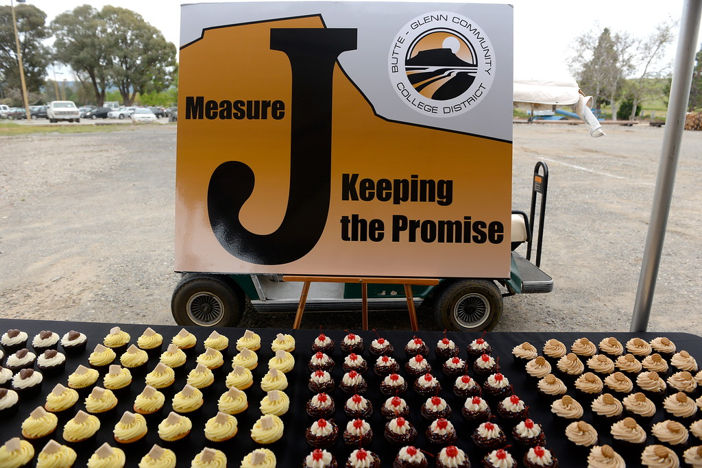 . A sign about measure J, a 190 million dollar general obligation bond is seen during a groundbreaking ceremony at Butte College for the new 1.8 million welding and manufacturing facility Wednesday April 18, 2018.  (Bill Husa -- Enterprise-Record)