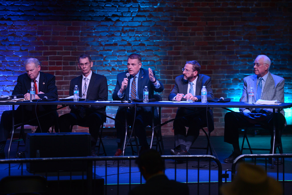. District Attorney Mike Ramsey, Chief Probation Officer Steve Bordin, Sheriff Kory Honea, Behavioral Health Director Dorian Kittrell and criminal defense attorney Ron Reed make up the panel for a community forum on crime, punishment and mental health at the El Rey Theater, April 19, 2018, in Chico, California. (Carin Dorghalli -- Enterprise-Record)