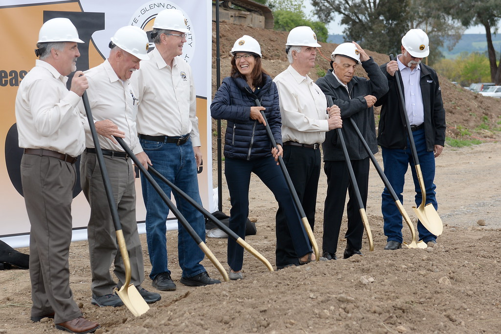. Butte College President Samia Yaqub, center, prepares to break ground with other VIP\'s during a groundbreaking ceremony at Butte College for the new 1.8 million welding and manufacturing facility Wednesday April 18, 2018.  (Bill Husa -- Enterprise-Record)