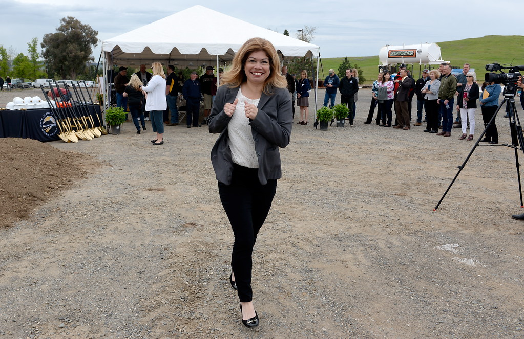 . Butte College Director of Institutional Advancement Lisa DeLaby is seen during a groundbreaking ceremony at Butte College for the new 1.8 million welding and manufacturing facility Wednesday April 18, 2018.  (Bill Husa -- Enterprise-Record)