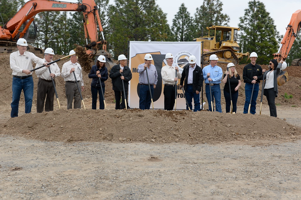 . Several people instrumental in the project are seen with golden shovels during a groundbreaking ceremony at Butte College for the new 1.8 million welding and manufacturing facility Wednesday April 18, 2018.  (Bill Husa -- Enterprise-Record)