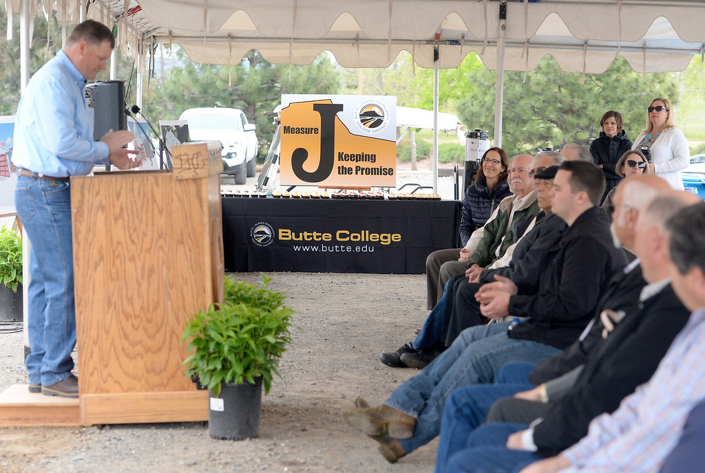 . Butte College Director of Industrial Technology Don Robinson speaks during a groundbreaking ceremony at Butte College for the new 1.8 million welding and manufacturing facility Wednesday April 18, 2018.  (Bill Husa -- Enterprise-Record)