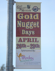 A banner is seen advertising Gold Nugget Days April 26- 29th in Paradise, Calif. Friday April 13, 2018. (Bill Husa -- Enterprise-Record)