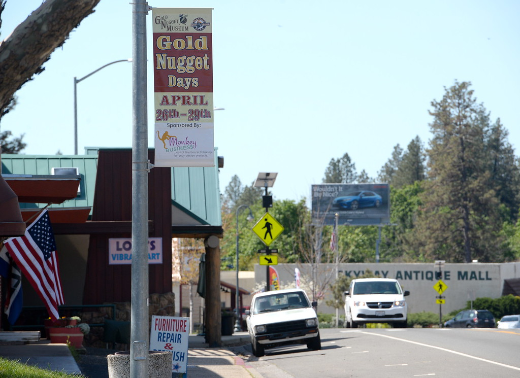 . A banner is seen advertising Gold Nugget Days April 26- 29th in Paradise, Calif. Friday April 13, 2018. (Bill Husa -- Enterprise-Record)