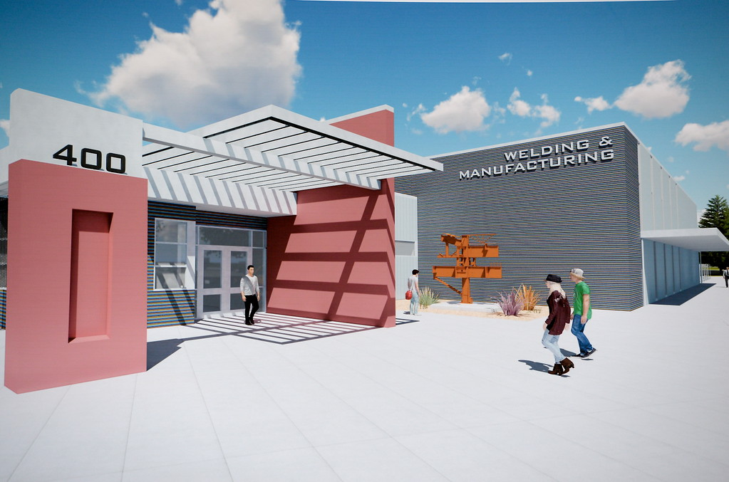. An artists rendering is seen during a groundbreaking ceremony at Butte College for the new 1.8 million welding and manufacturing facility Wednesday April 18, 2018.  (Bill Husa -- Enterprise-Record)