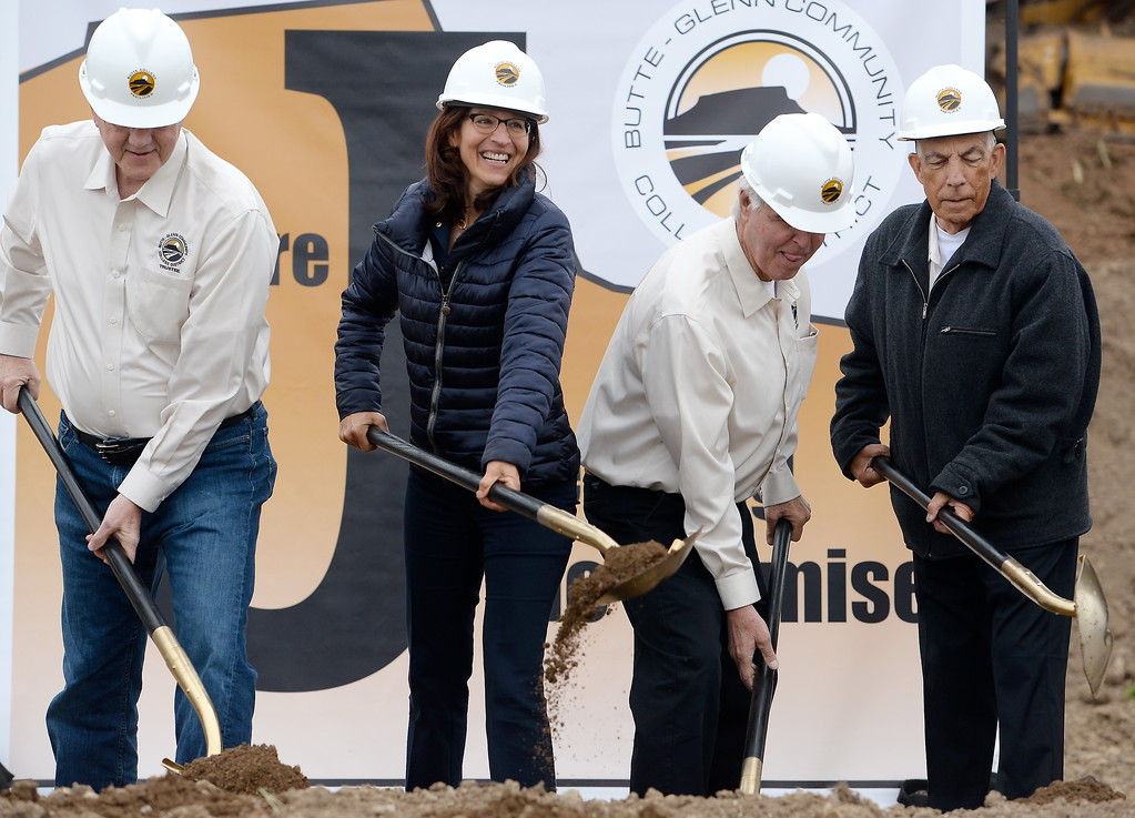 . Butte College President Samia Yaqub, second from left,  breaks ground with other VIP\'s during a groundbreaking ceremony at Butte College for the new 1.8 million welding and manufacturing facility Wednesday April 18, 2018.  (Bill Husa -- Enterprise-Record)