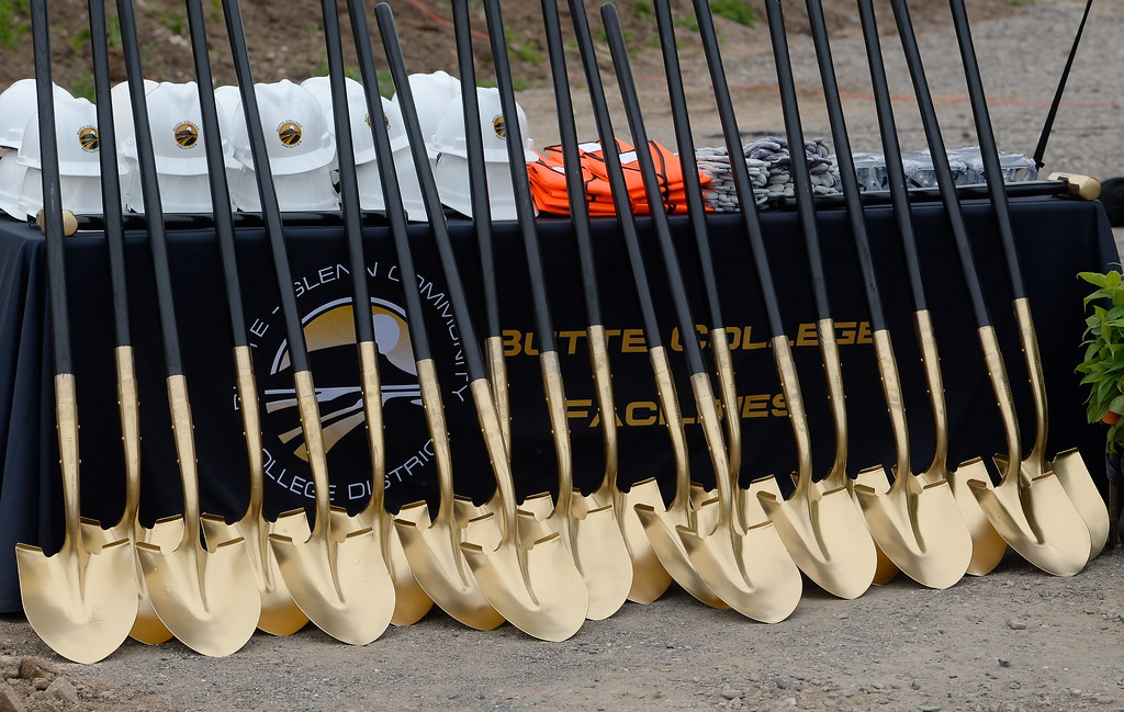 . Golden shovels wait to be used during a groundbreaking ceremony at Butte College for the new 1.8 million welding and manufacturing facility Wednesday April 18, 2018.  (Bill Husa -- Enterprise-Record)