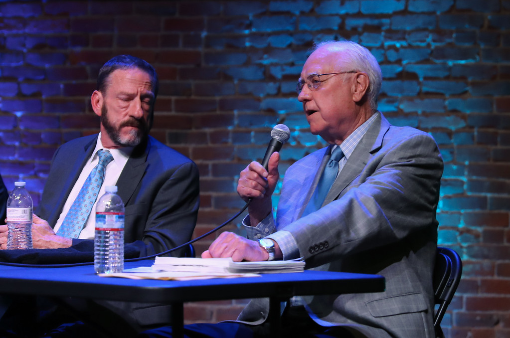 . Crriminal defense attorney Ron Reespeaks during a community forum on crime, punishment and mental health at the El Rey Theater, April 19, 2018, in Chico, California. (Carin Dorghalli -- Enterprise-Record)