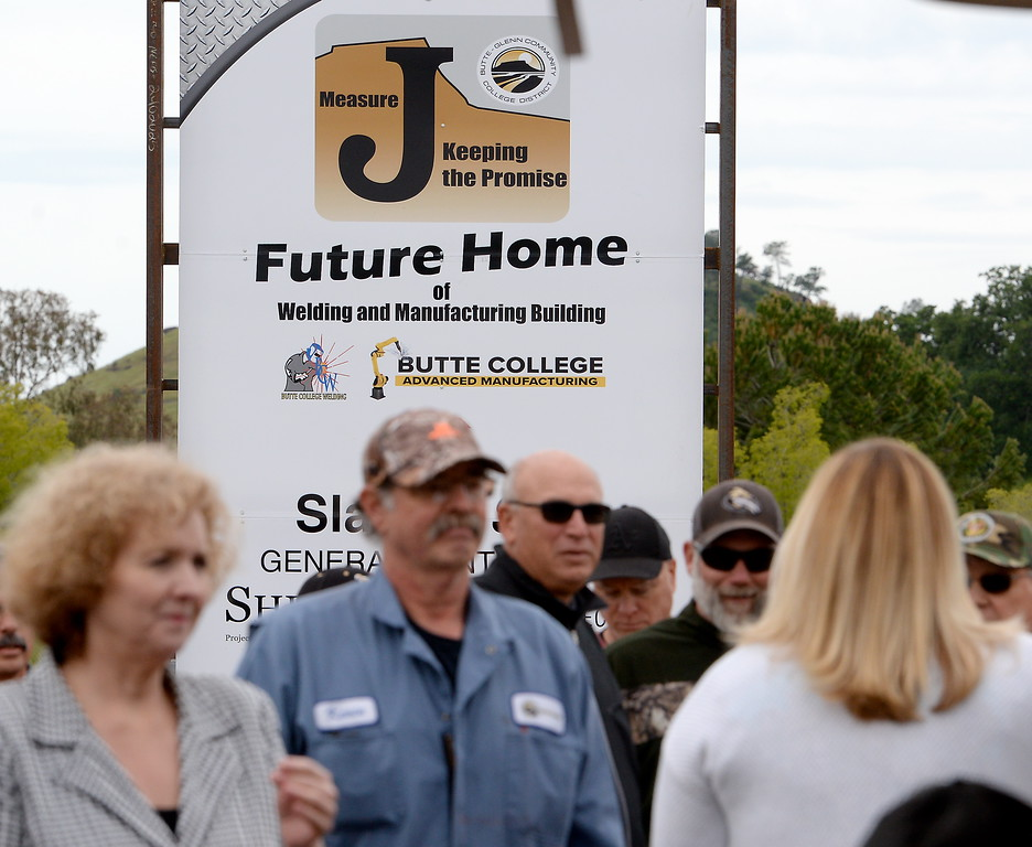 . A sign is seen during a groundbreaking ceremony at Butte College for the new 1.8 million welding and manufacturing facility Wednesday April 18, 2018.  (Bill Husa -- Enterprise-Record)