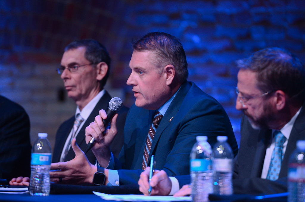 . Chief Probation Officer Steve Bordin, Sheriff Kory Honea and Behavioral Health Director Dorian Kittrell speak during a community forum on crime, punishment and mental health at the El Rey Theater, April 19, 2018, in Chico, California. (Carin Dorghalli -- Enterprise-Record)