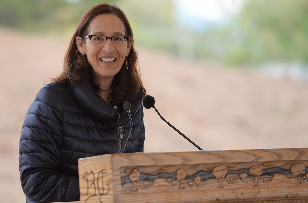 . Butte College President Dr. Samia Yaqub speaks during a groundbreaking ceremony at Butte College for the new 1.8 million welding and manufacturing facility Wednesday April 18, 2018.  (Bill Husa -- Enterprise-Record)