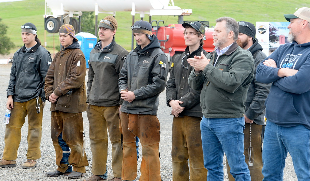 . A group of welders receive recognition during a groundbreaking ceremony at Butte College for the new 1.8 million welding and manufacturing facility Wednesday April 18, 2018.  (Bill Husa -- Enterprise-Record)