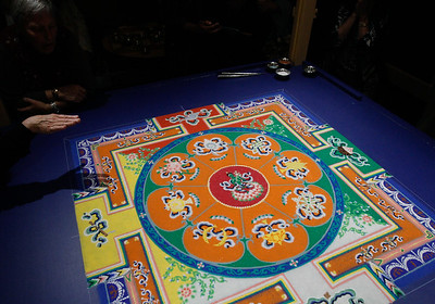 The Green Tara sand mandala by Losang Samten is almost complete Thursday March 30, 2017 in Oroville, California. (Emily Bertolino -- Enterprise-Record)