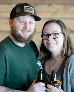 Willie and Claire Matthews smile inside of their new horseshoe shaped bar the Chico Taproom located in the Almond Orchard shopping center off of Pillsbury Rd. in Chico, Calif. Friday March 31, 2017. They hope to open for business in May. (Bill Husa -- Enterprise-Record)
