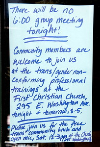 Signs about trans week are posted outside of the Stone Wall Alliance headquarters in Chico, Calif. Friday March 31, 2017. (Bill Husa -- Enterprise-Record)