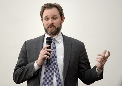 Assemblyman 3rd Districti James Gallagher speaks to Chico area leaders about the ongoing situation with the Oroville Dam Oroville Spillway and water concerns during a meeting in Chico, Calif. Thurs. March 30, 2017. (Bill Husa -- Enterprise-Record)